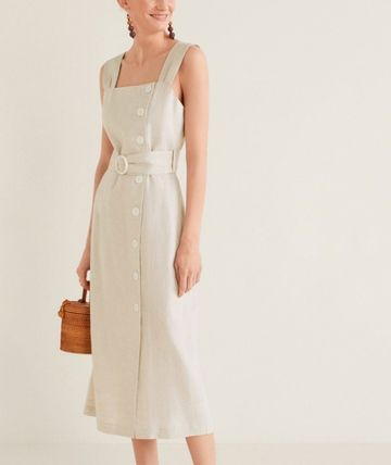 Tight Linen Sleeveless Medium Dresses