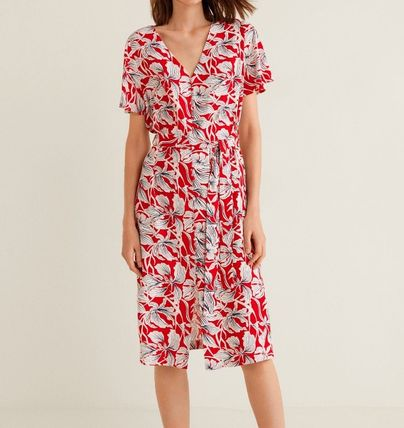 Flower Patterns V-Neck Medium Short Sleeves Shirt Dresses