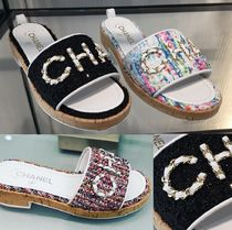 CHANEL Tweed Chain Elegant Style Slippers Sandals