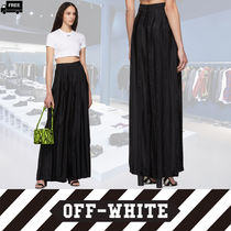 Off-White Casual Style Plain Long Handmade Pants