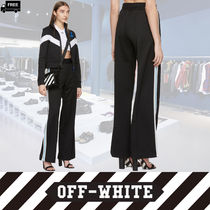 Off-White Stripes Casual Style Plain Cotton Long Handmade Pants
