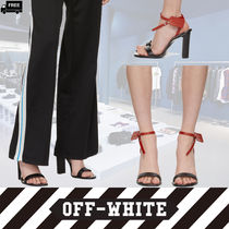Off-White Open Toe Casual Style Plain Leather Block Heels Handmade