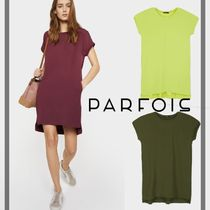 PARFOIS Casual Style Plain Medium Short Sleeves Khaki Dresses