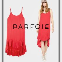PARFOIS Casual Style Sleeveless Plain Medium Slip Dresses Dresses