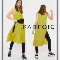 PARFOIS Casual Style Sleeveless Plain Medium Shirt Dresses Dresses