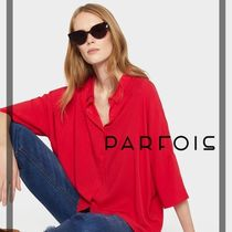 PARFOIS Casual Style Plain Medium Short Sleeves Shirts & Blouses