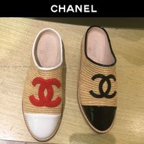 CHANEL Round Toe Casual Style Blended Fabrics Plain Slip-On Shoes