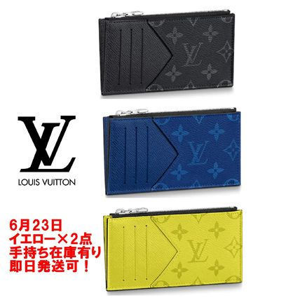 Monogram Blended Fabrics Leather Coin Cases
