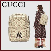 GUCCI Flower Patterns Unisex Nylon A4 Backpacks