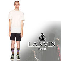LANVIN Stripes Henry Neck Cotton Short Sleeves Henley T-Shirts