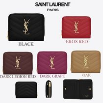 Saint Laurent Calfskin Plain Folding Wallets