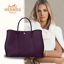 HERMES Garden Party A4 Plain Leather Totes