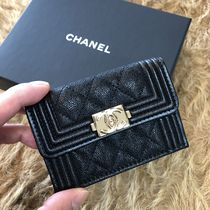 CHANEL BOY CHANEL Plain Leather Folding Wallet Folding Wallets
