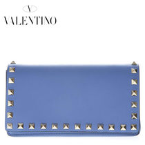 VALENTINO Casual Style Studded 2WAY Plain Leather Shoulder Bags