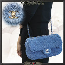 CHANEL ICON Calfskin Blended Fabrics 3WAY Bi-color Chain Plain