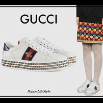 GUCCI Ace Rubber Sole Lace-up Casual Style Blended Fabrics Plain