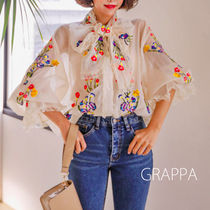 Flower Patterns Casual Style Plain Medium Puff Sleeves