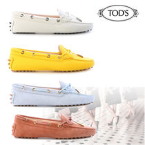 TOD'S Rubber Sole Suede Plain Loafer Pumps & Mules