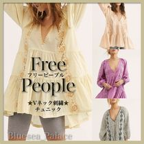 Free People Stripes Flower Patterns V-Neck Tunics