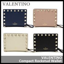 VALENTINO Street Style Leather Folding Wallets