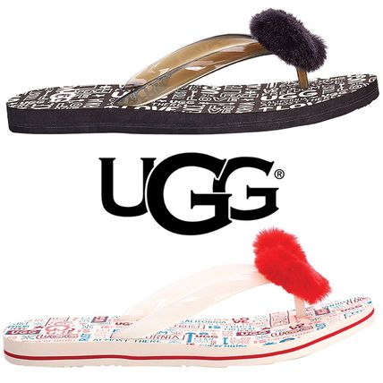 fa0312dc207 UGG Australia 2019 SS Casual Style Faux Fur Flip Flops Flat Sandals