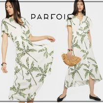 PARFOIS Tropical Patterns Casual Style Long Short Sleeves