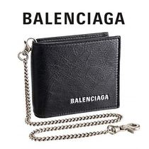 BALENCIAGA Lambskin Chain Plain Folding Wallets