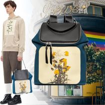 LOEWE Flower Patterns Calfskin Blended Fabrics Backpacks