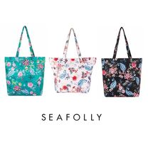 Seafolly Flower Patterns Casual Style Street Style A4 Oversized Totes