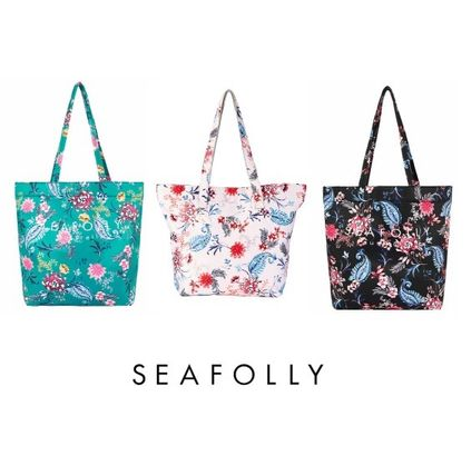 Flower Patterns Casual Style Street Style A4 Oversized Totes