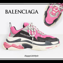 BALENCIAGA Triple S Rubber Sole Lace-up Casual Style Blended Fabrics