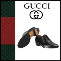 GUCCI Loafers Plain Leather V Tips Loafers & Slip-ons