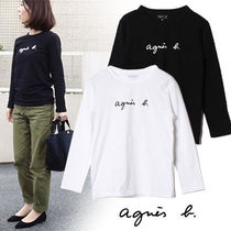 Agnes b Crew Neck Short Street Style Long Sleeves Plain Cotton