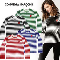 COMME des GARCONS Heart Unisex Street Style U-Neck Long Sleeves Cotton
