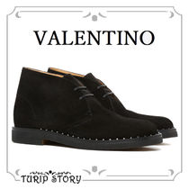 VALENTINO Plain Toe Suede Studded Plain Chukkas Boots