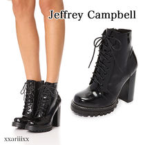 Jeffrey Campbell Lace-up Casual Style Plain Leather Block Heels Lace-up Boots