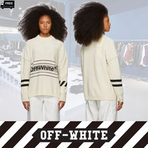 Off-White Crew Neck Casual Style Long Sleeves Plain Cotton Medium