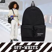 Off-White Camouflage Casual Style Nylon Handmade Backpacks