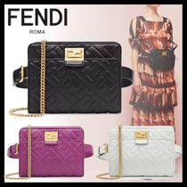 FENDI Monogram Lambskin 3WAY Chain Elegant Style Shoulder Bags
