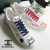 CHANEL Unisex Street Style Collaboration Plain Leather