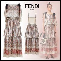 FENDI Argile Flower Patterns Silk Sleeveless Boat Neck Long