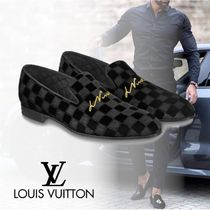 Louis Vuitton DAMIER Other Check Patterns Loafers Velvet Loafers & Slip-ons