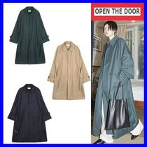 OPEN THE DOOR Unisex Street Style Plain Oversized Trench Coats