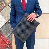 Christian Louboutin Studded A4 Plain Leather Clutches