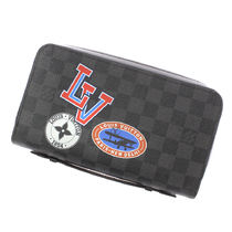 Louis Vuitton DAMIER GRAPHITE Other Check Patterns Street Style PVC Clothing Long Wallets