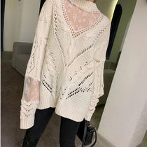Cable Knit Flower Patterns Casual Style Blended Fabrics