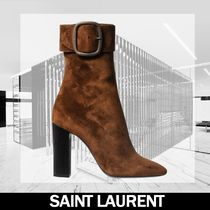 Saint Laurent Casual Style Leather Block Heels Ankle & Booties Boots