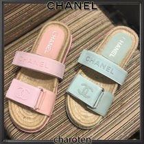 CHANEL ICON Open Toe Rubber Sole Casual Style Blended Fabrics Plain