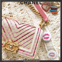 CHANEL BOY CHANEL Blended Fabrics 3WAY Bi-color Chain Plain Elegant Style