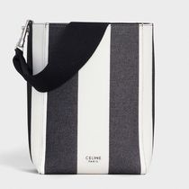 CELINE Sangle Stripes Casual Style Canvas Blended Fabrics Totes